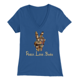 """Peace Love Books"" Womens V-Neck Super Soft T-Shirt"