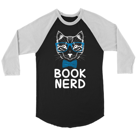 """Book Nerd"" Unisex Raglan Long Sleeve Shirt"
