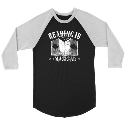 """Reading Is Magical"" Unisex Raglan Long Sleeve Shirt"