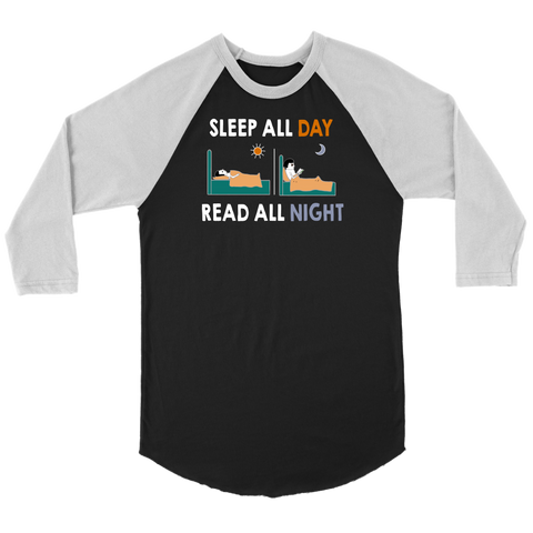 """Read All Night"" Unisex Raglan Long Sleeve Shirt"