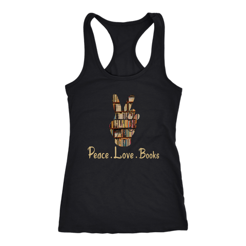 """Peace Love Books"" Racerback Women's Tank Top"