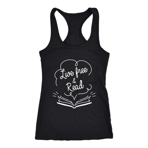 """Live Free & Read"" Racerback Women's Tank Top"