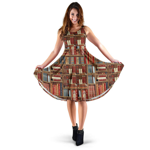 Bookish Pattern Midi Dress With Pockets