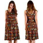 Brown Bookish midi dress with pockets