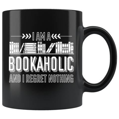 """I Am A Bookaholic""11 oz Black Ceramic Mug"