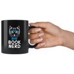 """Book Nerd""11 oz Black Ceramic Mug"
