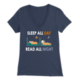 """Read All Night"" Womens V-Neck Super Soft T-Shirt"