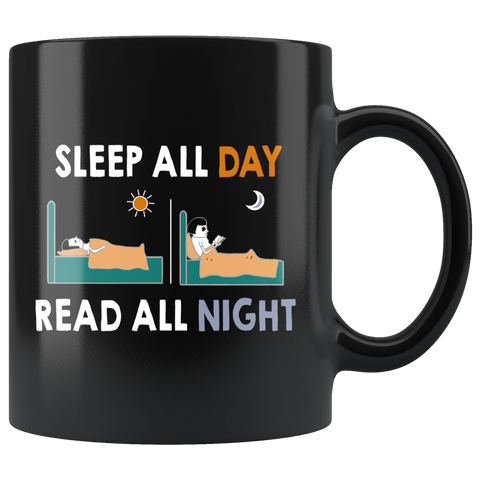 """Read All Night""11oz Black Ceramic Mug"
