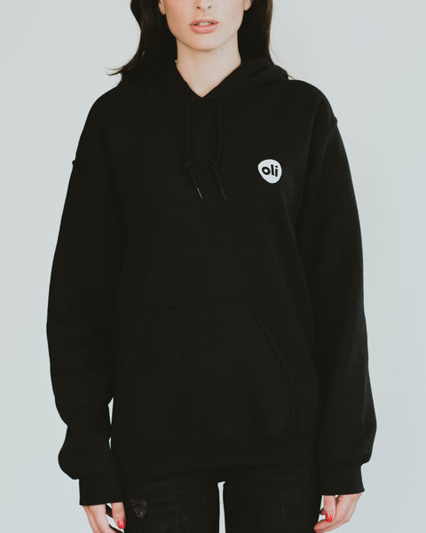 Embroidered Logo Black Unisex Hoodie