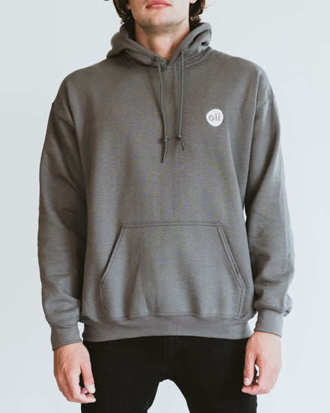 Embroidered Logo Grey Unisex Hoodie