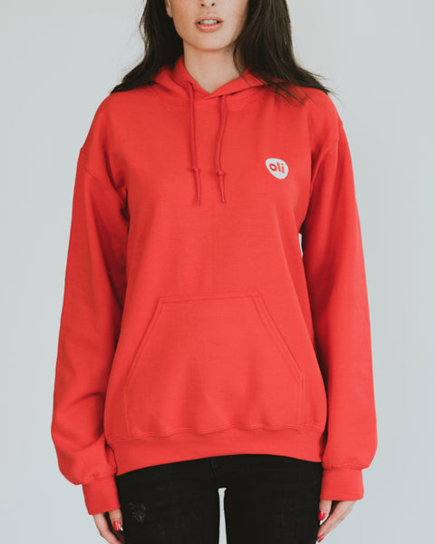 Embroidered Logo Red Unisex Hoodie