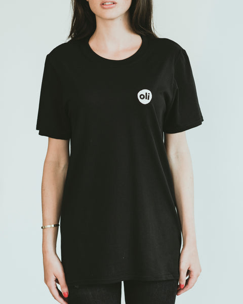 Embroidered Logo Black Unisex T-Shirt