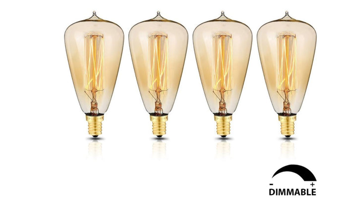 Edison Style Light Bulbs with E12 base ST48 glass shape