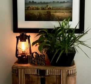Electric Oil Lantern table lamp with inline dimmer on plug in cord by Muskoka Lifestyle Products Model MUS113