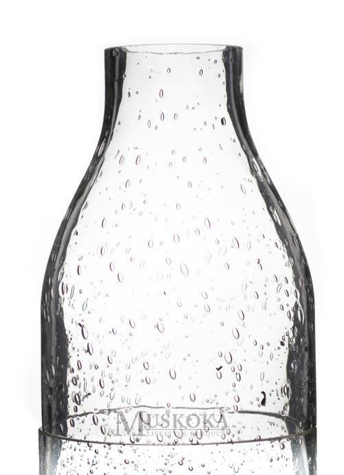 Large Seeded Glass Clear Wine Bottle MUS111