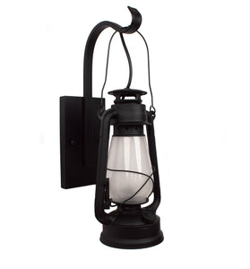 Electric Oil Lantern Wall Sconce Large Frosted Hurricane Glass Model MUS117