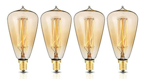 Edison Style Light Bulbs with E12 base ST48 glass shape (4 Pack)