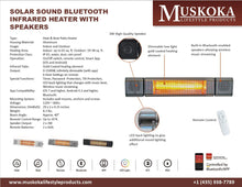Load image into Gallery viewer, Solar Sound Bluetooth Infrared Heater with Speakers Model MUS1521