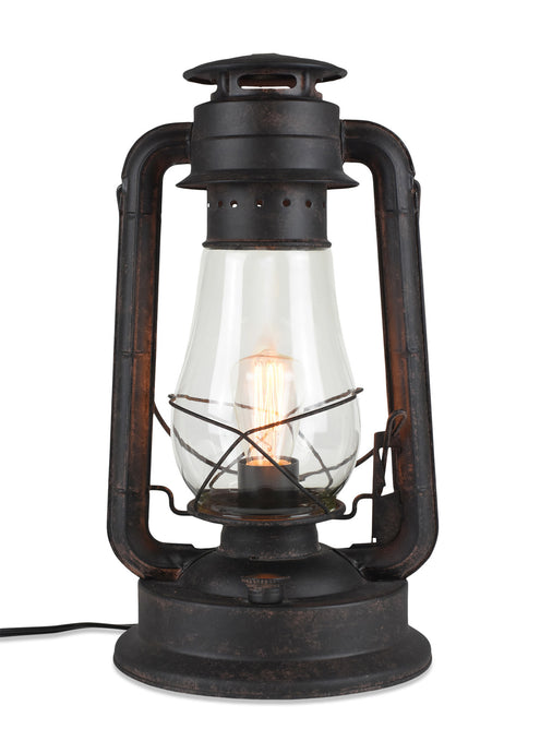 Dimmable Electric Lantern table Lamp-Large-Rustic Rust Finish MUS113LR