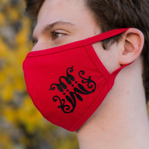 Red Scripted M Face Mask