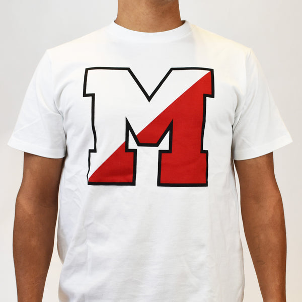 image of T-Shirt with two-toned block letter M