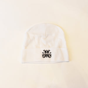image of White Baby Cap with Black Scripted M