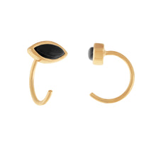Load image into Gallery viewer, image of Gold/Onyx Petite Stone Earrings