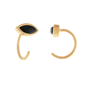 image of Gold/Onyx Petite Stone Earrings