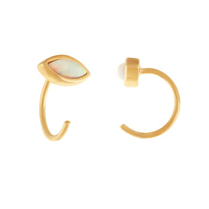 image of Gold/Opal Petite Stone Earrings