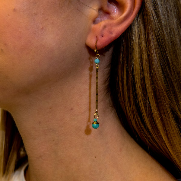 Long Bar w/ Crystal Earring