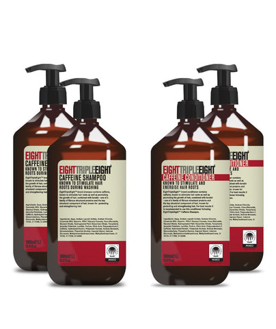 Eight Triple Eight Caffeine 2x Shampoo & 2x Conditioner 1L