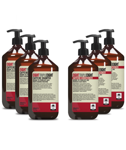 EightTripleEight Caffeine 3x Shampoo & 3x Conditioner - 1L