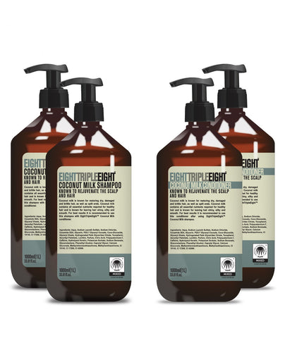 Eight Triple Eight Coconut 2x Shampoo & 2x Conditioner 1L