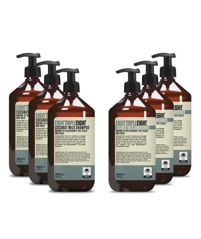 EightTripleEight Coconut 3x Shampoo & 3x Conditioner - 1L