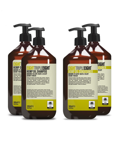 Eight Triple Eight Hemp Oil 2x Shampoo & 2x Conditioner 1L