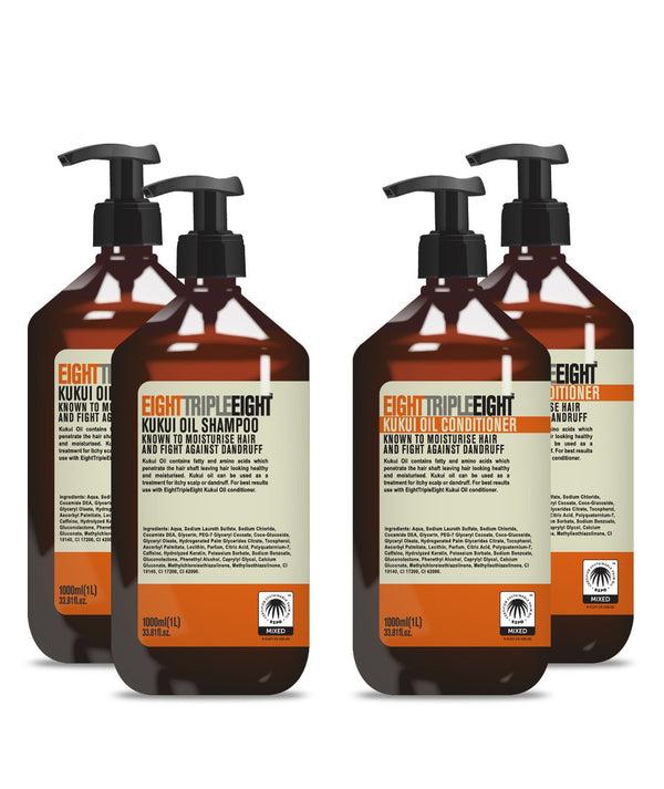Eight Triple Eight Kukui Oil 2x Shampoo & 2x Conditioner 1L