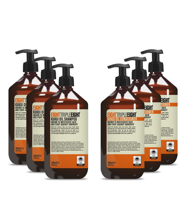 EightTripleEight Kukui Oil 3x Shampoo & 3x Conditioner - 1L