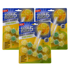 Max Flush 5 Citrus Sparkle Toilet Rim Block Cleaner (Twin Pack)
