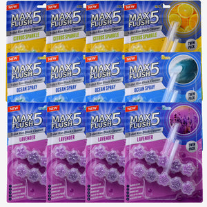 Max Flush 5 Toilet Rim Block Cleaner Mixed Set of 12 (Twin Pack)