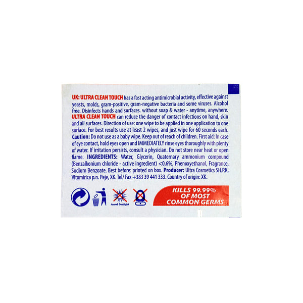 ALCOHOL FREE Ultra Clean Touch Antibacterial Wipes (Pack Of 50 Individually Wrapped)
