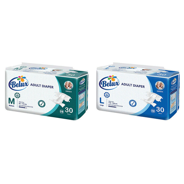 BELUX DISPOSABLE, UNISEX ADULT NAPPIES/DIAPERS, PACK OF 30