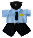 blue line teddy bear Police Officer Uniform (fits 15-16