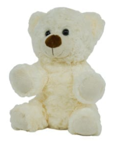 8 Inch Recordable White Curly Bear