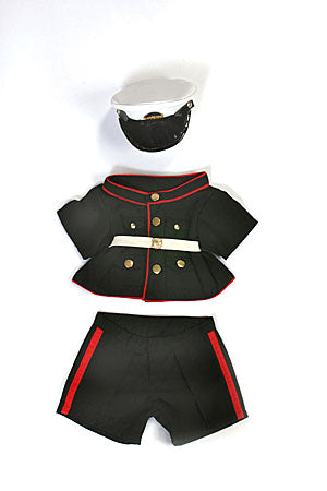 U.S. Marines teddy bear clothing uniform (Dark blue/red; fits 15-16
