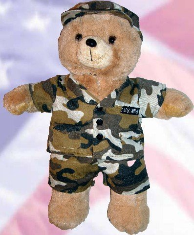 US ARMY Recordable Talking 15 inch military bear