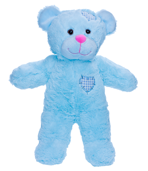8 Inch Recordable BLUE PATCH BEAR with 30 second digital recorder