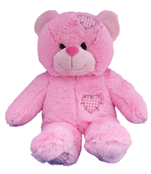 8 Inch Recordable PINK PATCH BEAR with 30 second digital recorder