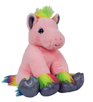 16 Inch Recordable Pink Rainbow Pony with 30 second digital recorder