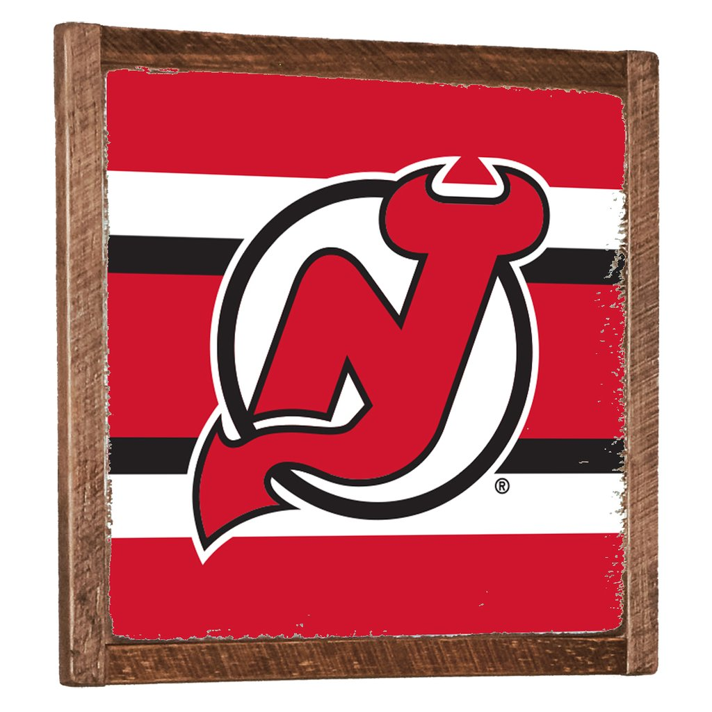 NEW JERSEY DEVILS TEAM STRIPES VINTAGE WALL ART FRAMED - CityBarnCountryPenthouse