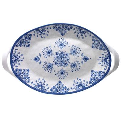 "MOROCCAN BLUE LARGE TWO HANDLED OVAL PLATTER 18"" - CityBarnCountryPenthouse"